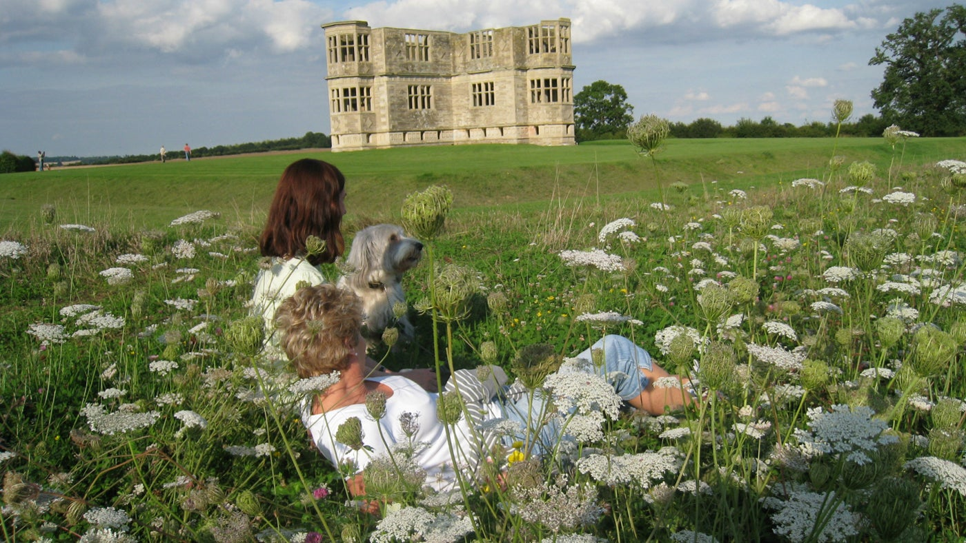 A view of Lyveden from a wildflower meadow in June
