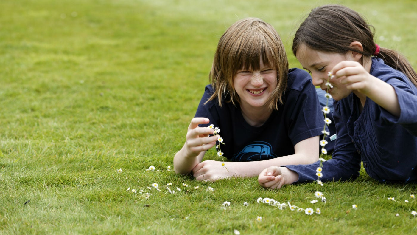 Girl and boy laying on grass making a daisy chain