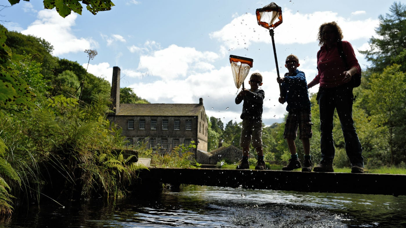 Family pond dipping with Gibson Mill behind them