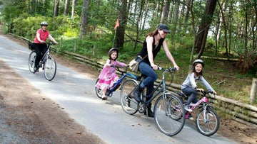 Family cycling at Formby