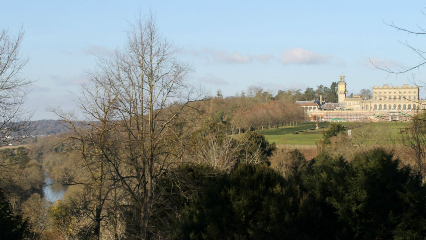 View from the woodlands towards Cliveden House, Buckinghamshire