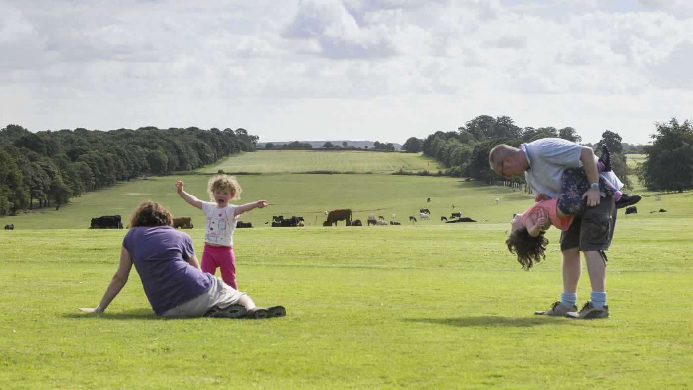 A family playing on the vista at Nostell Priory, West Yorkshire