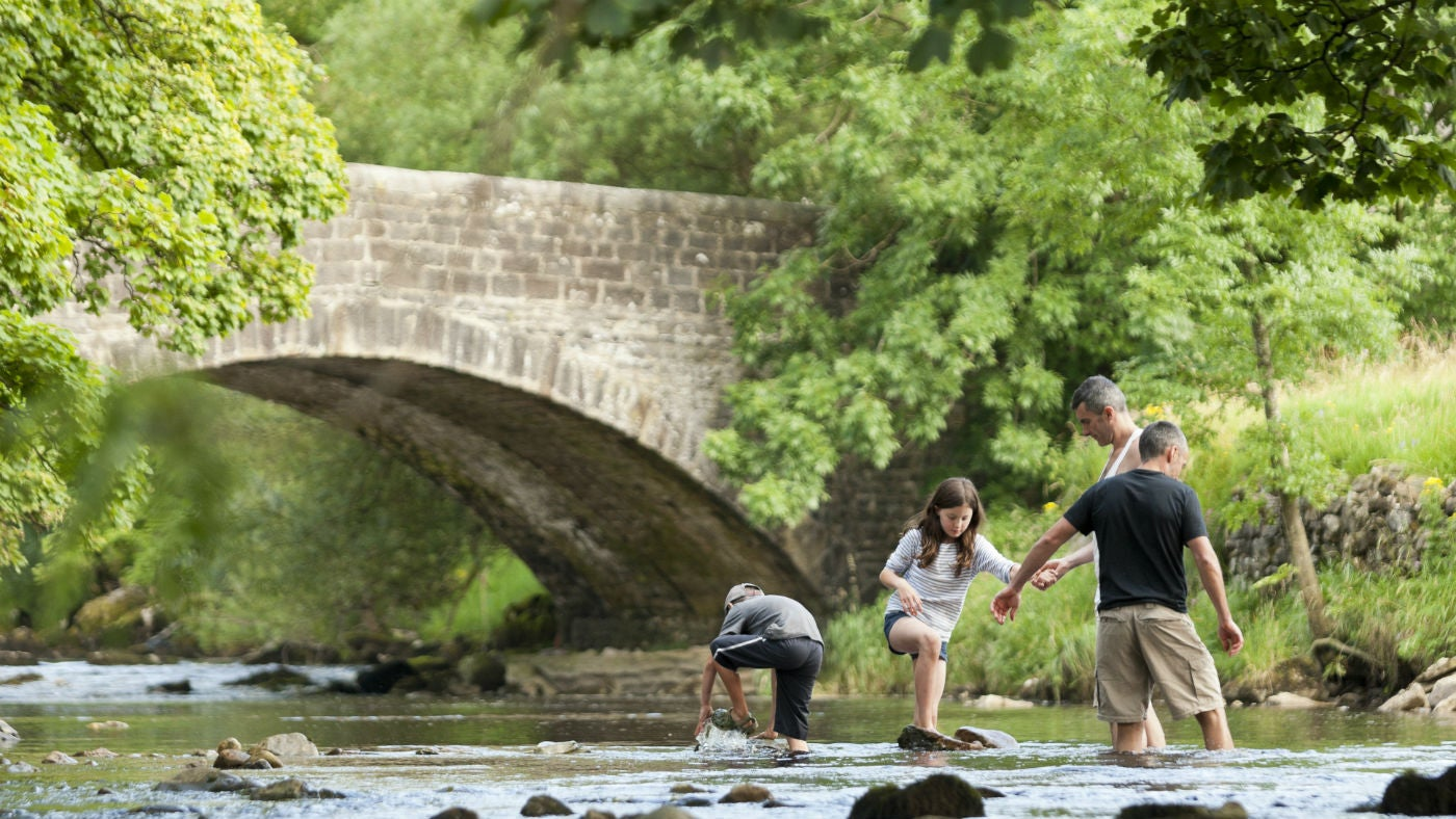 Family playing in the river at Buckden, Upper Wharfedale