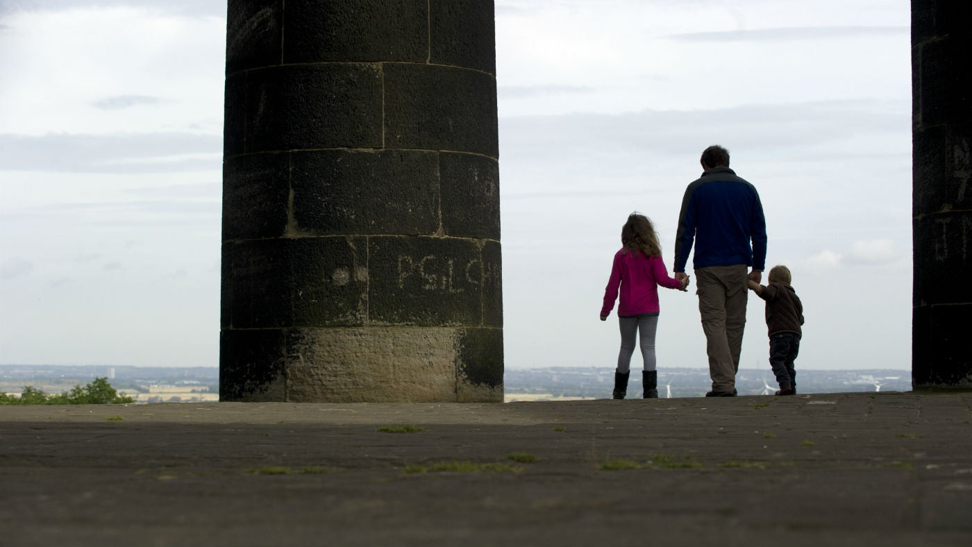 A group look out from Penshaw Monument