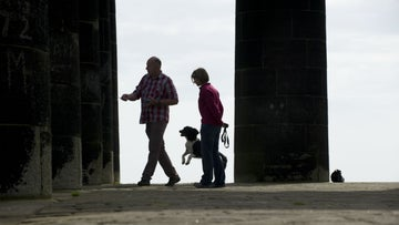 People making their way around Penshaw Monument