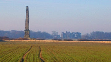 The obelisk and south side of Seaton Delaval Hall, Northumberland