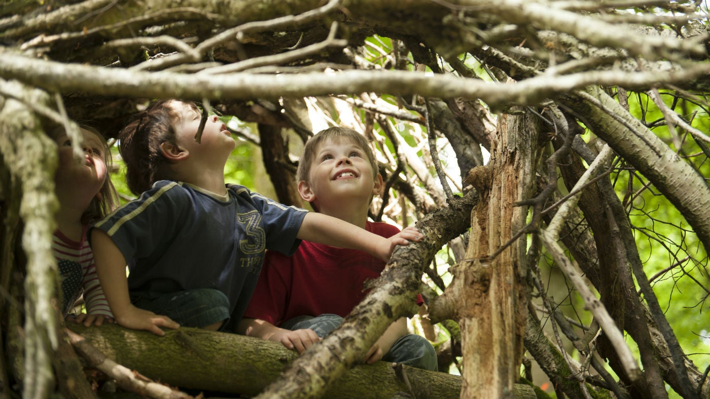Children building a den from twigs and branches Hudswell Woods