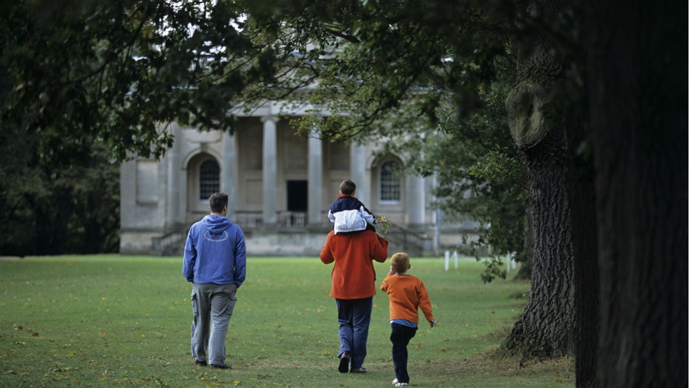 Visitors walking the family trail at Gibside, Tyne & Wear