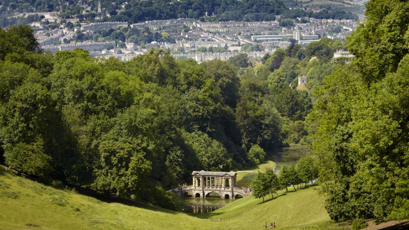 The Palladian Bridge and Bath skyline seen from Prior Park Landscape Garden