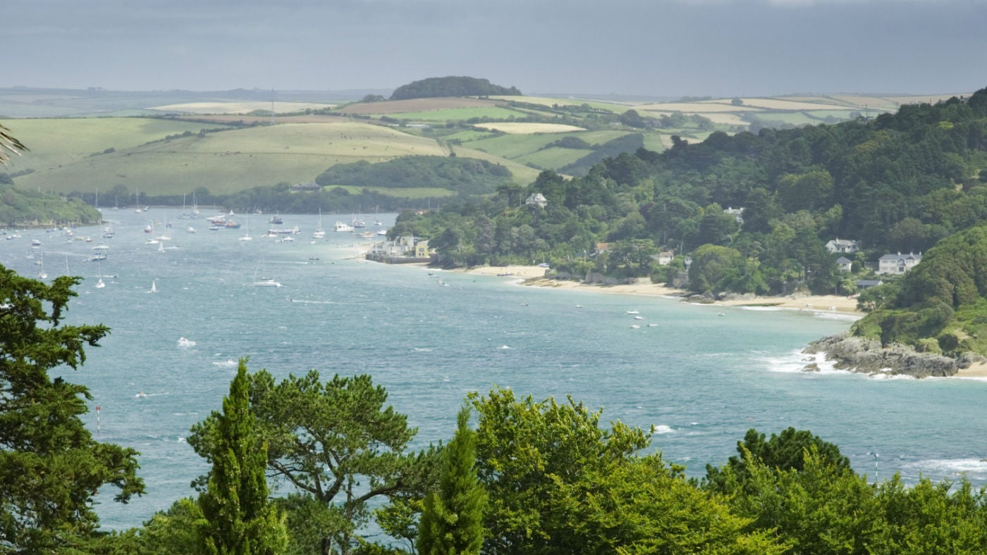 The view over the Salcombe estuary from the house and garden at Overbeck's, Devon