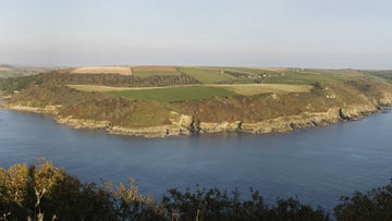 Panoramic view over the Salcombe estuary towards Rickham Common and Portlemouth Down, Devon