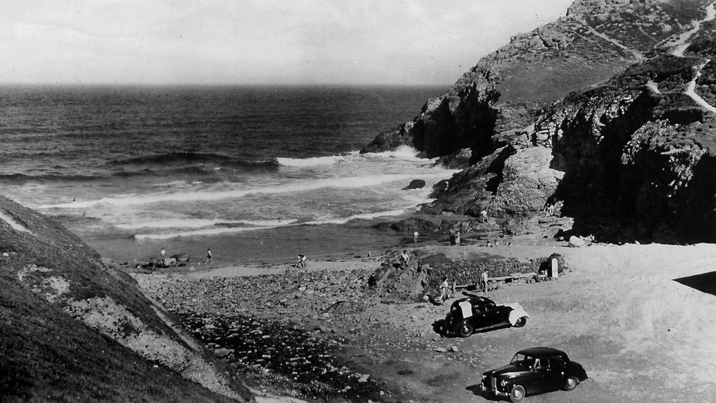 A black and white image of how Chapel Porth looked in the 1950s