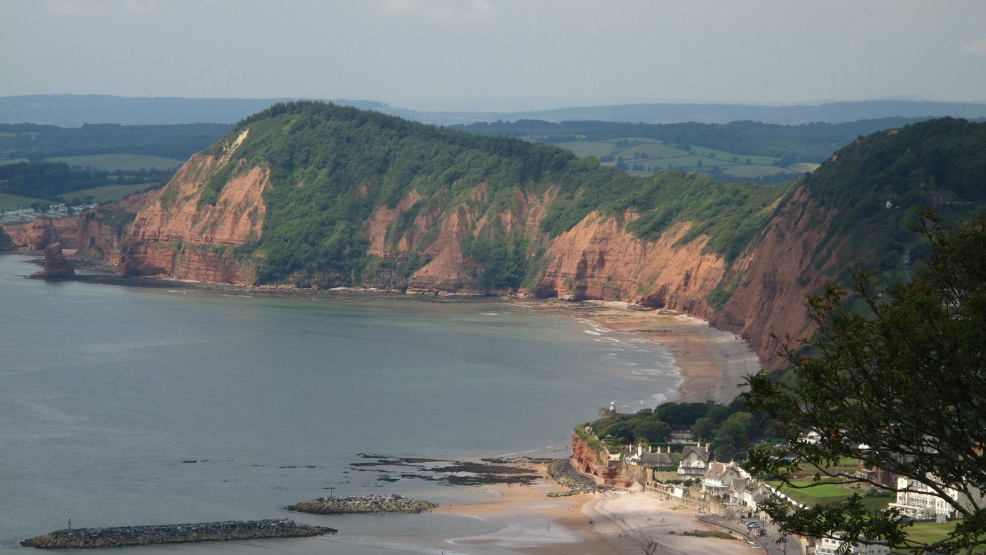 View from Salcombe Hill looking down to Sidmouth and the Jurassic coastline