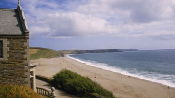 View to Loe Bar and open sea from Bar Lodge, Penrose, Cornwall.