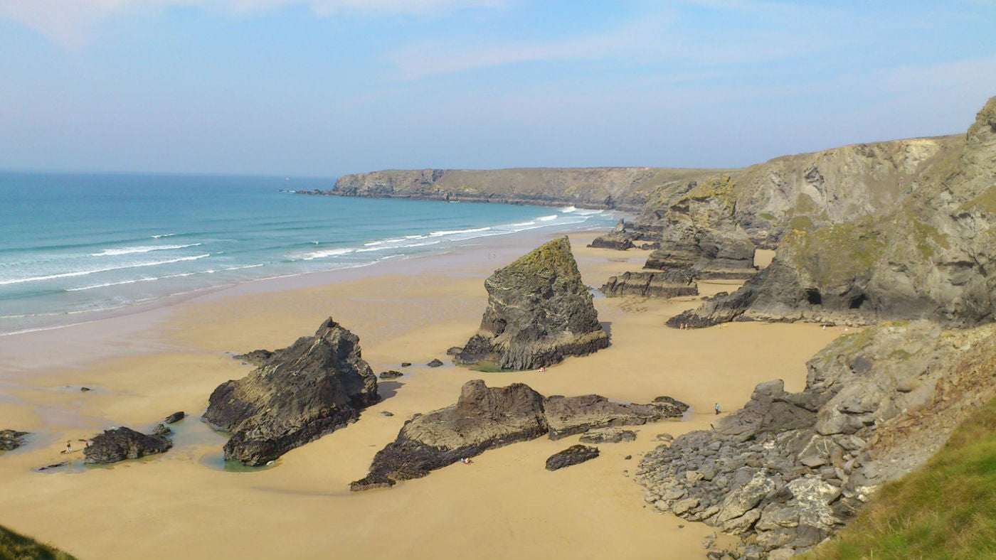 A view of Bedruthan beach