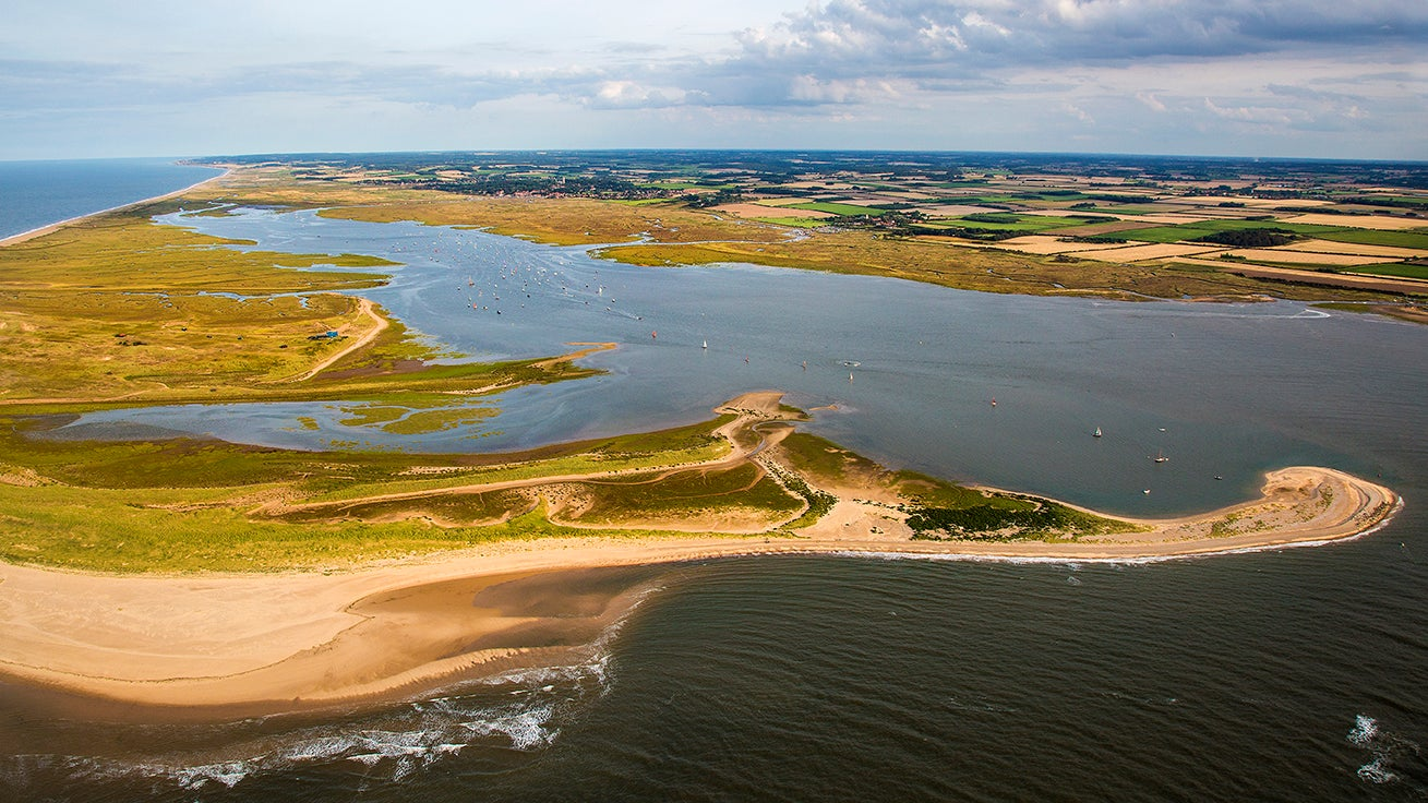 Aerial photograph of Blakeney National Nature Reserve, Norfolk Coast
