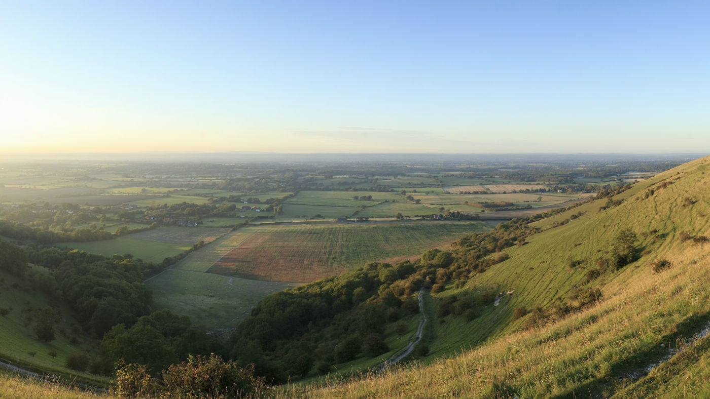 Panoramic view at sunset in August from Devil's Dyke, South Downs, West Sussex
