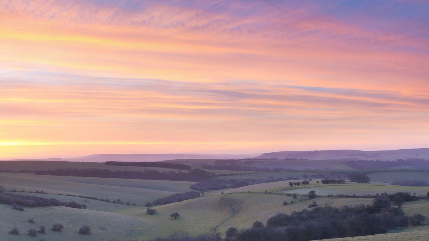 Sunrise near Ditchling Beacon in Sussex