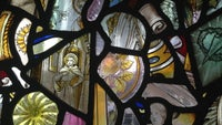 Stained coloured glass windows at Greyfriars