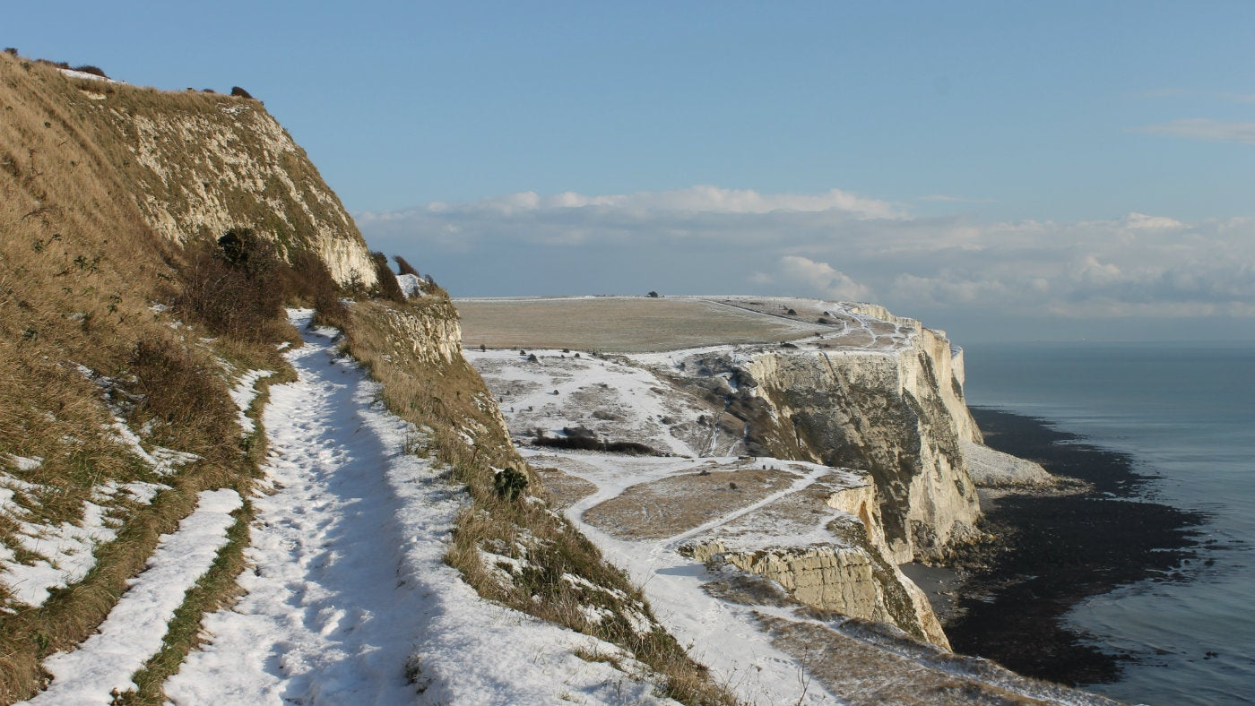 The White Cliffs of Dover walk covered in snow