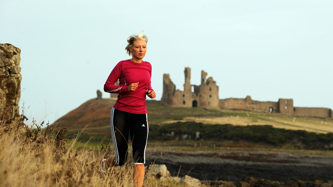 Running along the Northumberland Coast