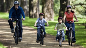 A family cycling together