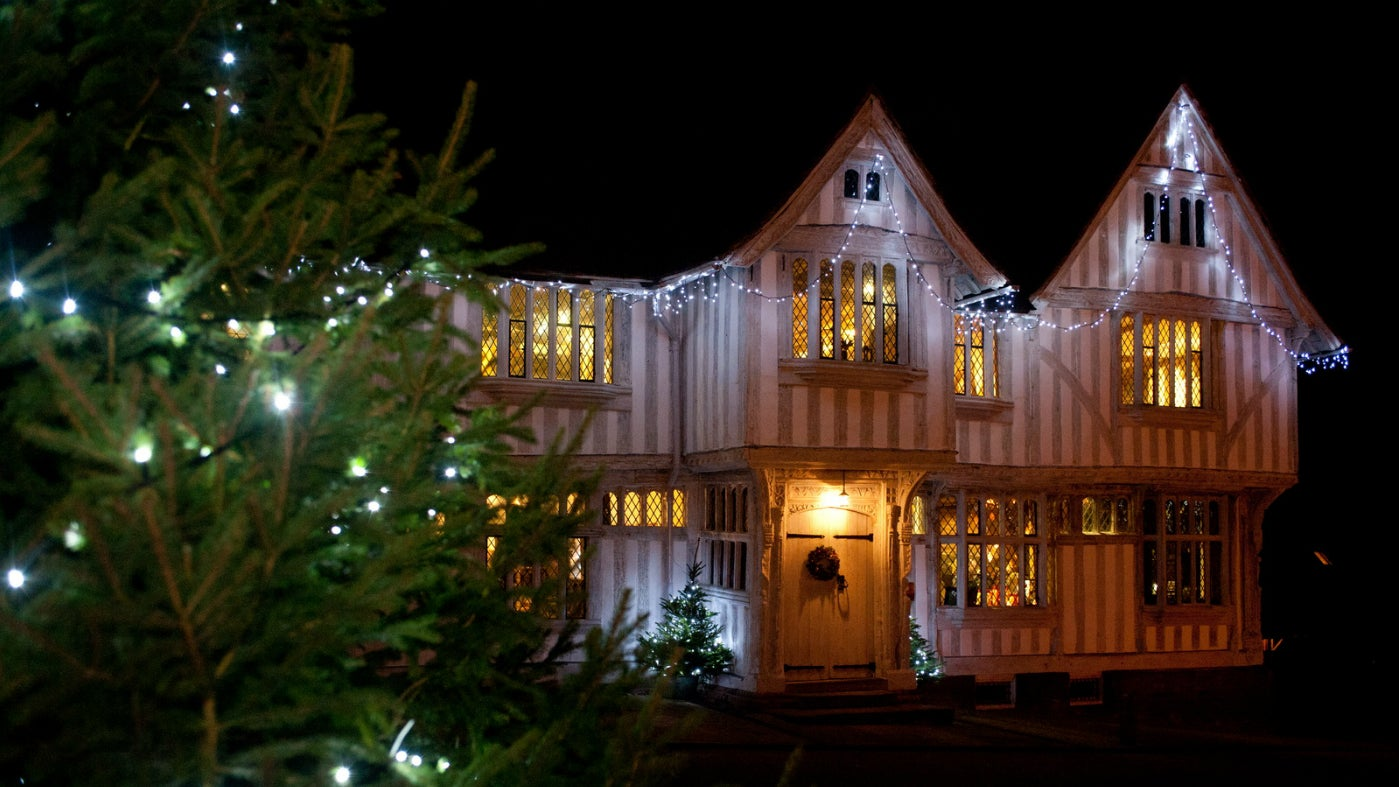 Christmas Lights on outside Christmas tree Lavenham Guildhall Lavenham
