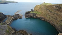 Overlooking Abereiddi's Blue Lagoon from the clifftop