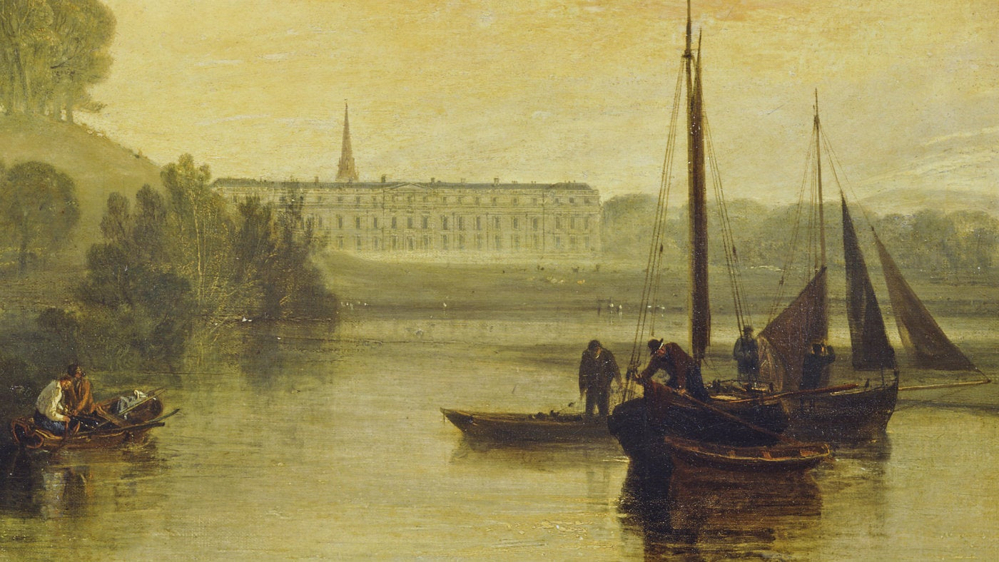 A detail from Petworth House from the Lake by JMW Turner