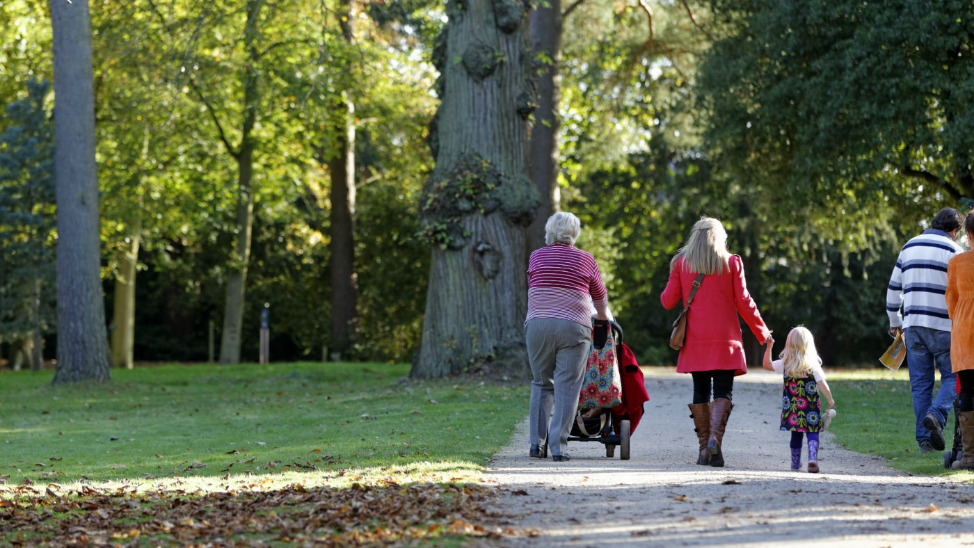 A family walk at Cliveden in Buckinghamshire