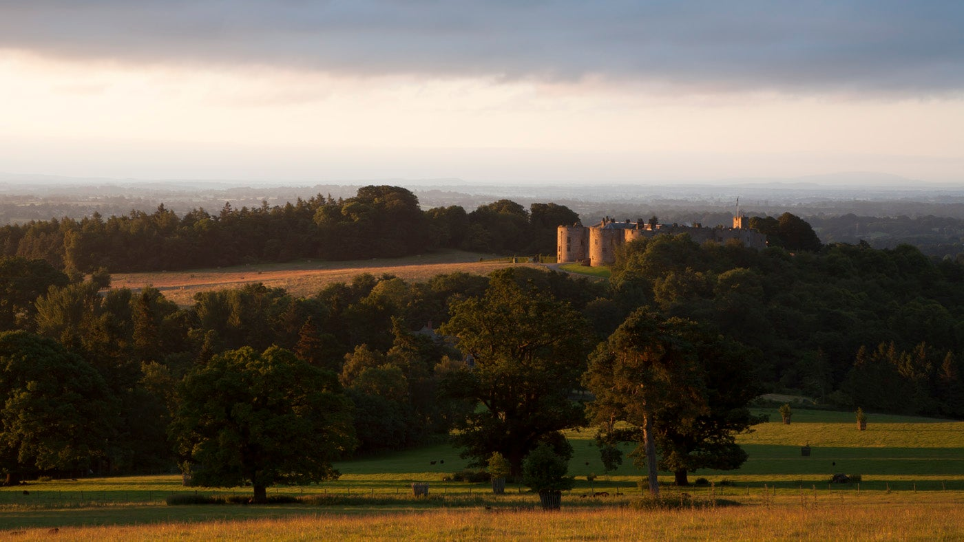 Dawn view of Chirk Castle in Wales
