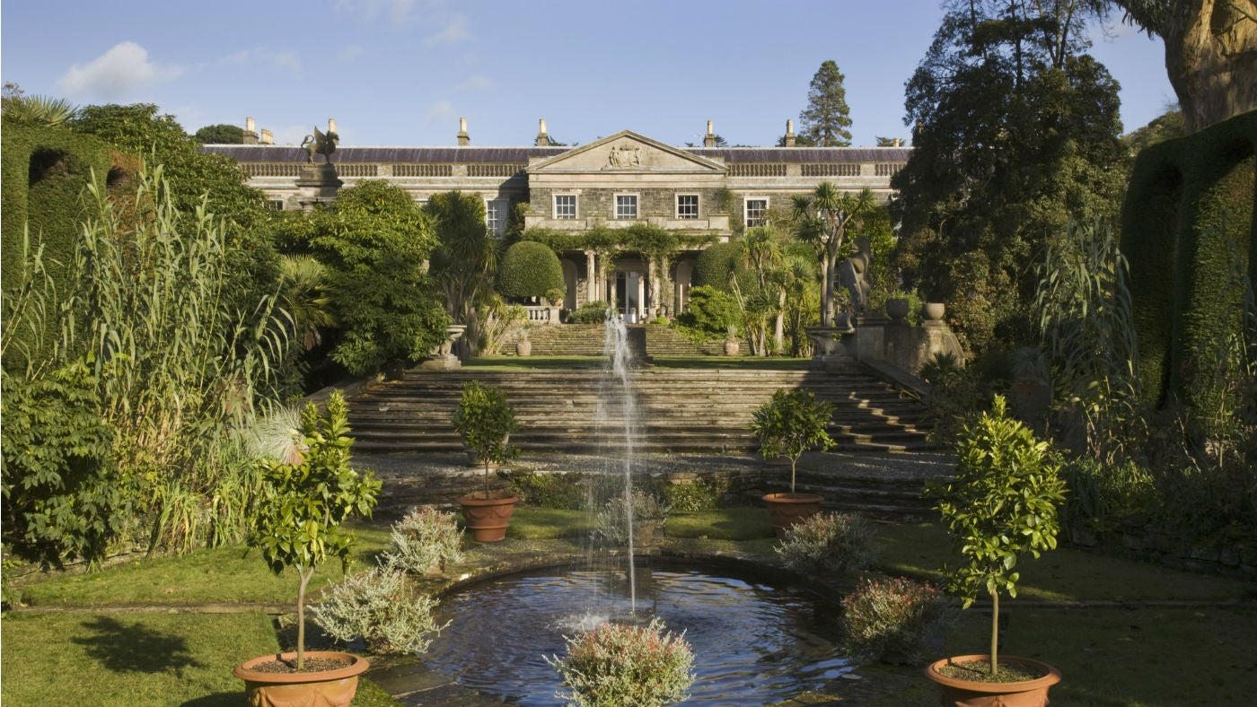 A view across the Spanish garden towards the nineteenth century house at Mount Stewart