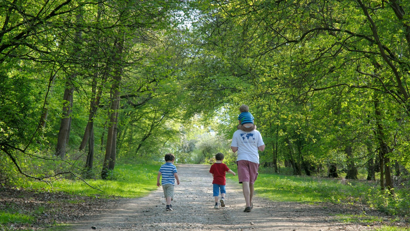 A family walking at Hatchlands Park