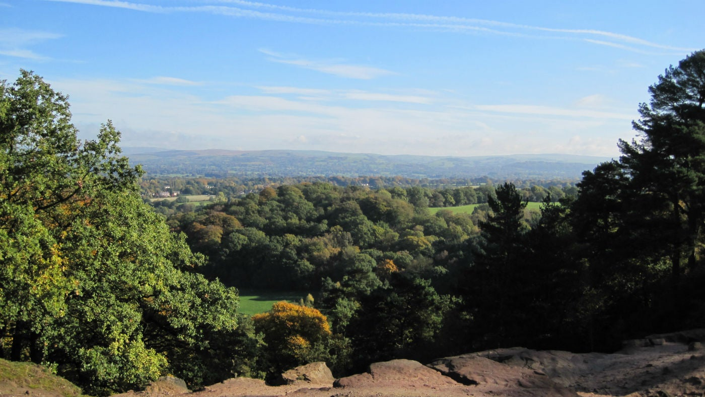 Far reaching views from Stormy Point at Alderley Edge
