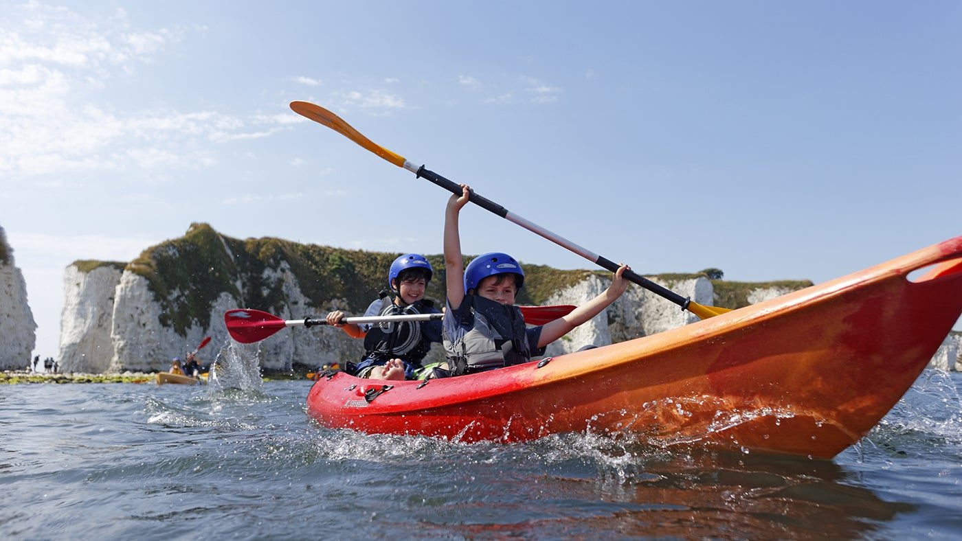 Kayaking near Old Harry at Studland Beach, Dorset