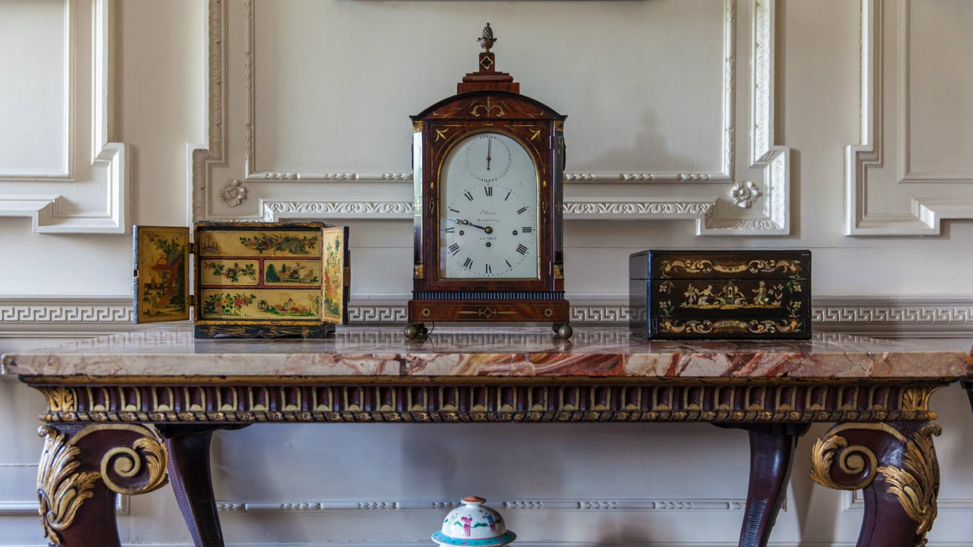 The clock in the Entrance Hall of Mompesson House