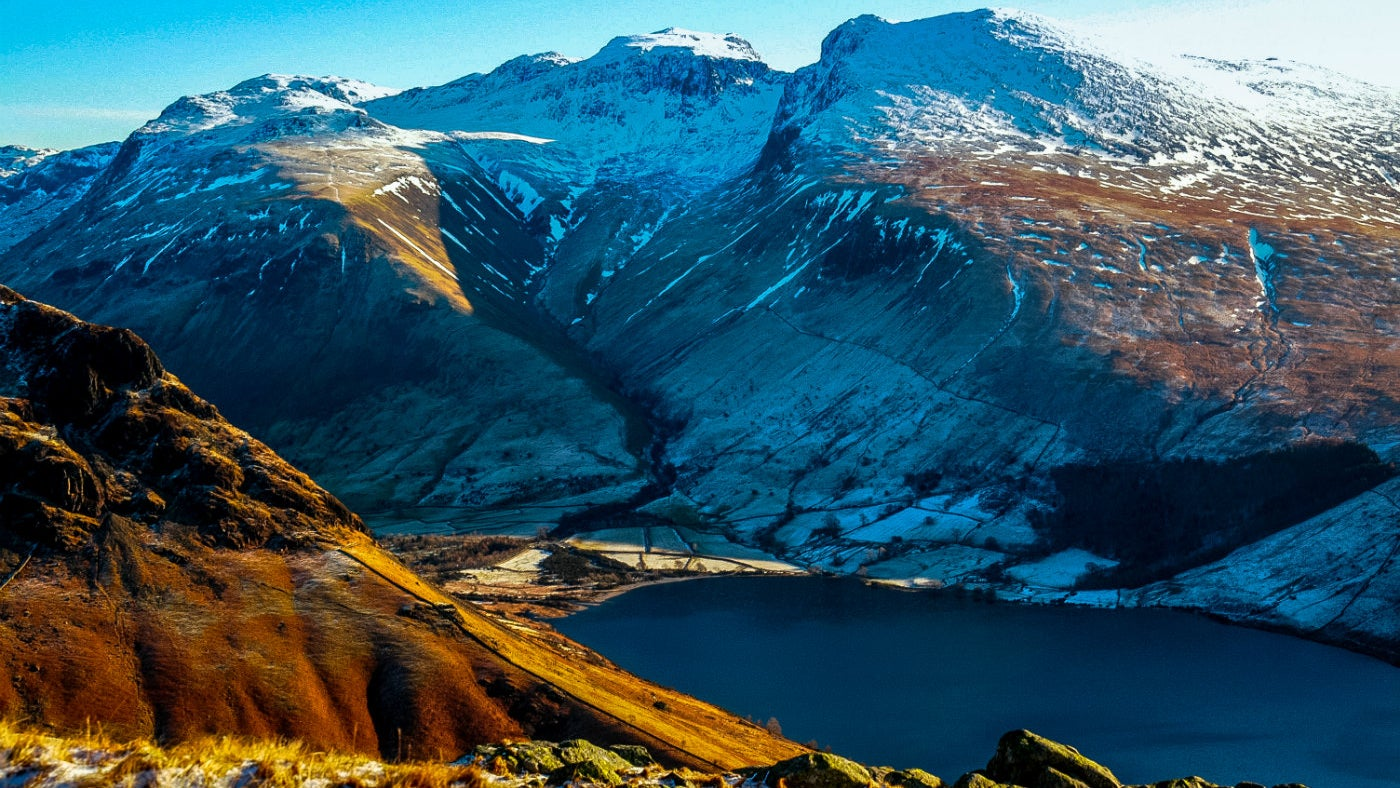 Scafell Pike and Wastwater in Winter with snow