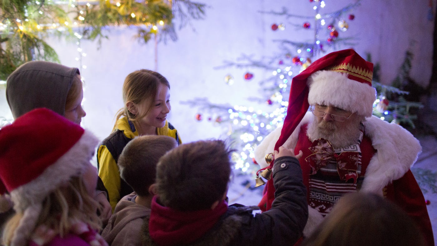 Children visiting Father Christmas at Croft Castle and Parkland in Herefordshire