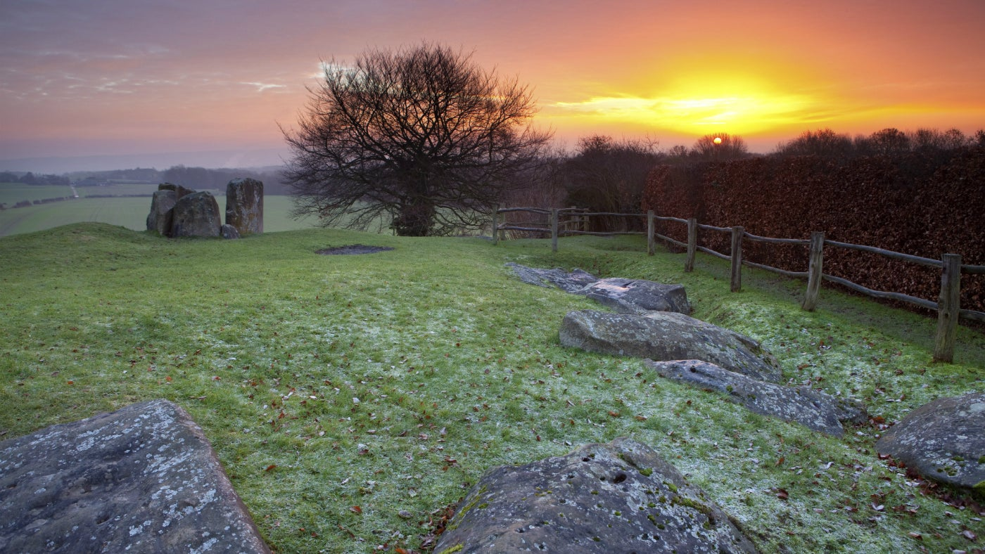 A sunset at Coldrum Long Barrow in Kent