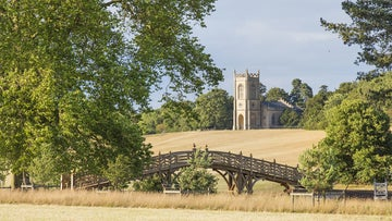 The Chinese Bridge and church at Croome, Worcestershire