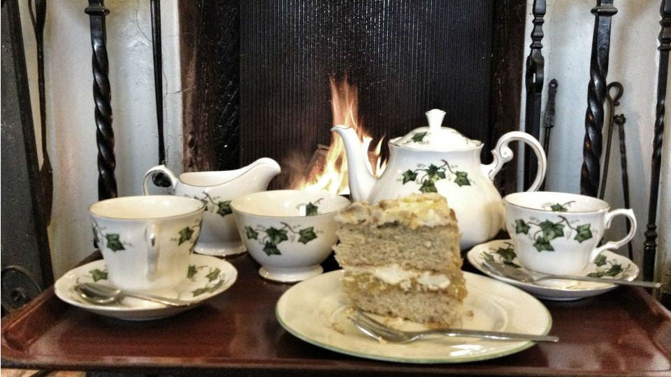 Tea and cake in front of the fire