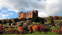 An autumnal view of the terraces below Powis Castle, Powys, Wales