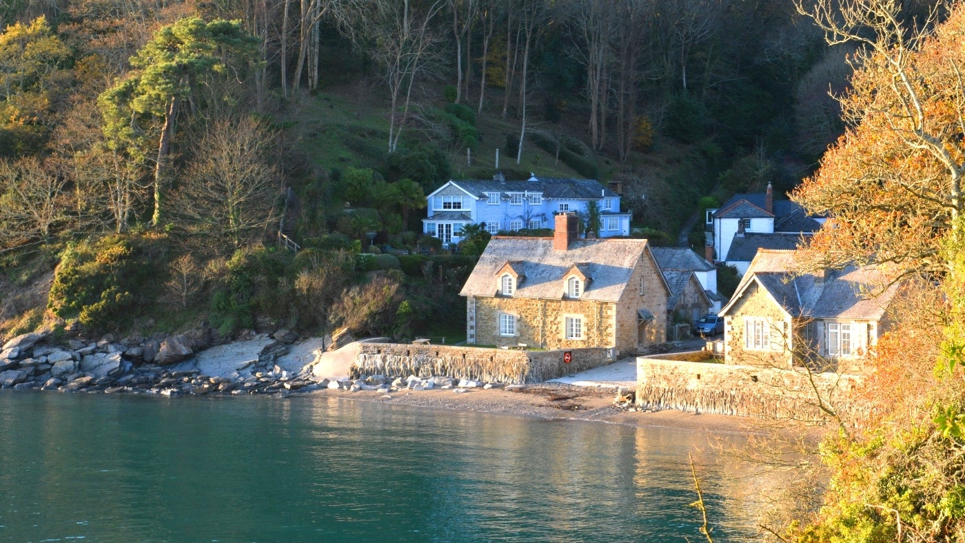 Riverfront houses at Durgan on the Helford River in Cornwall
