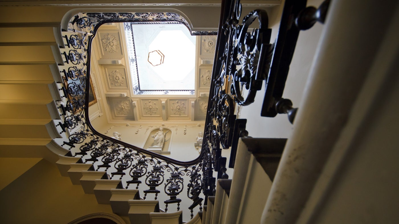 The ornate iron staircase in Maister House, Hull
