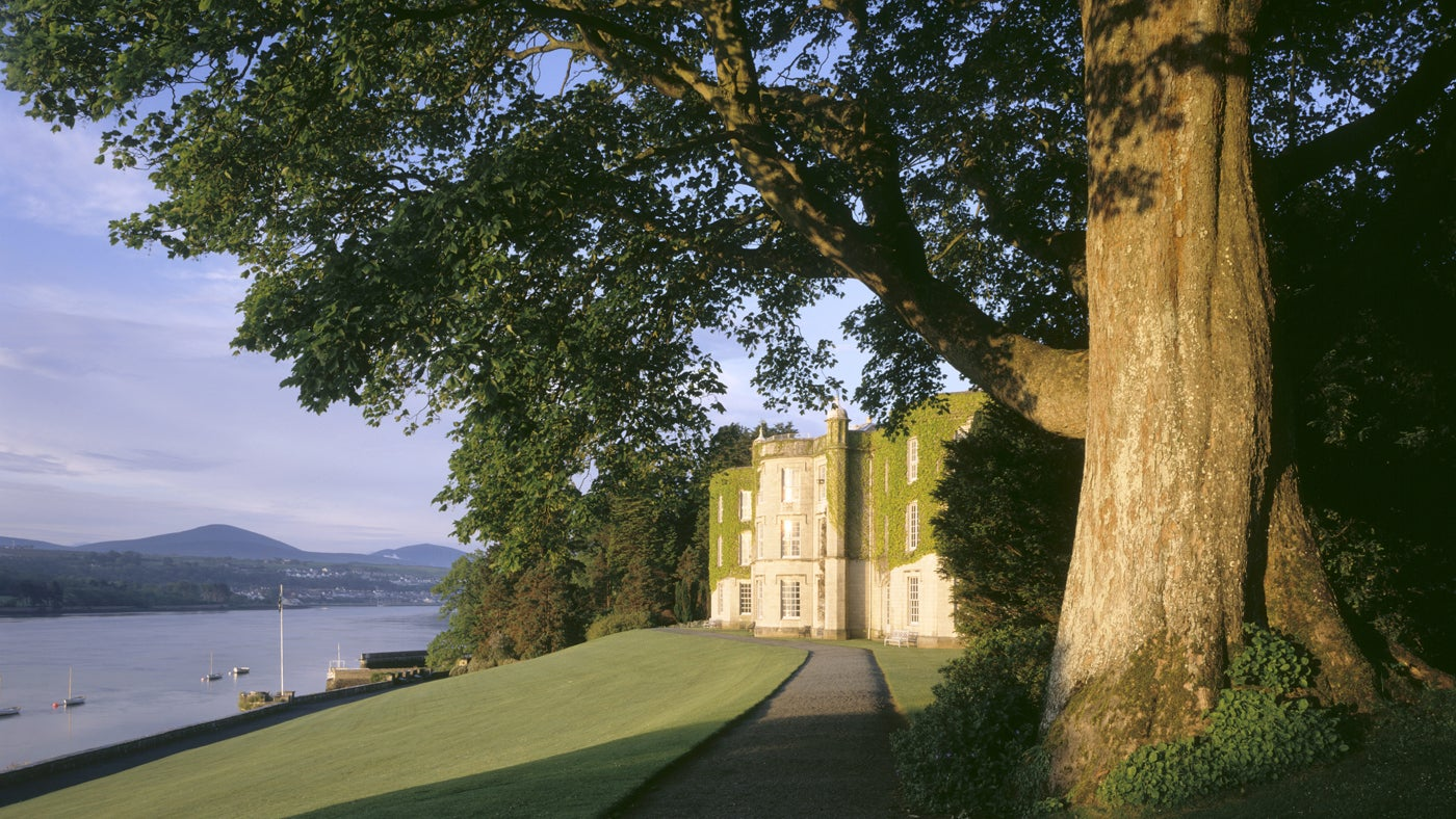 Plas Newydd, Anglesey, with the Menai Strait and Snowdonia seen from beneath a large sycamore tree