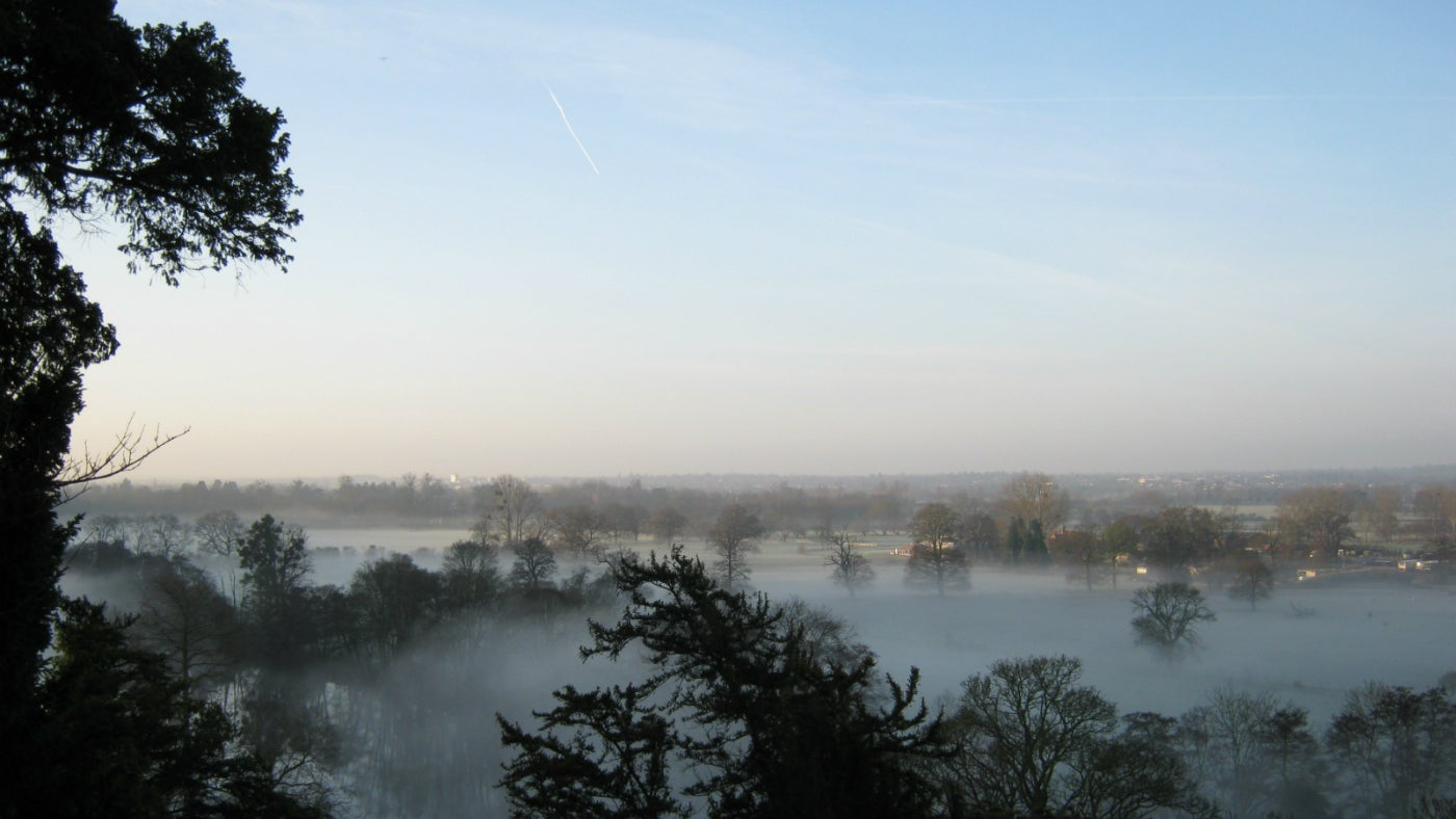 A misty view into the Thames Valley from Cliveden.