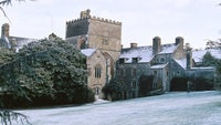 Buckland Abbey on a snowy day