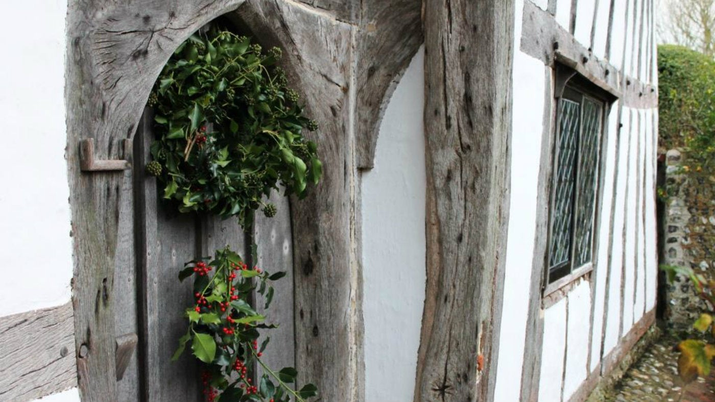 Alfriston Clergy House East Sussex Christmas wreath on front door