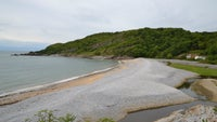 View of the shingle cove at Pwll Du, Gower
