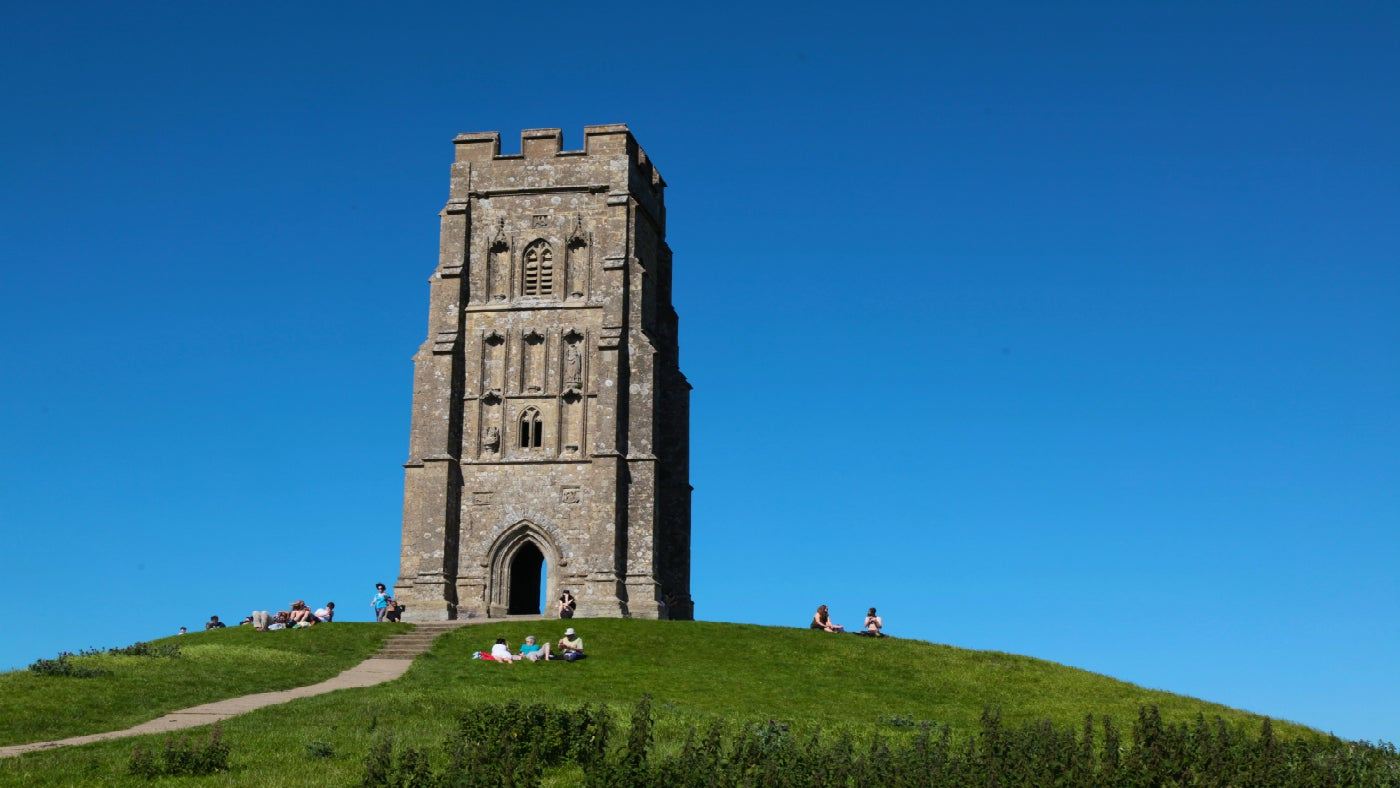 A view of Glastonbury Tor and St Michael's tower at it's summit